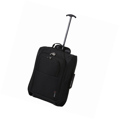 "21""/55cm 5 Cities Black Carry On Lightweight Cabin Approved Trolley Bag Hand Lug"