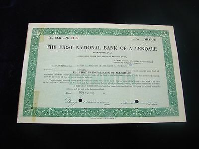 1960 The First National Bank Of Allendale New Jersey Stock Certificate Vintage
