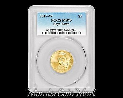 2017-W $5 Gold Boys Town Commemorative Pcgs Ms70  -  Lowest Mintage For Series!