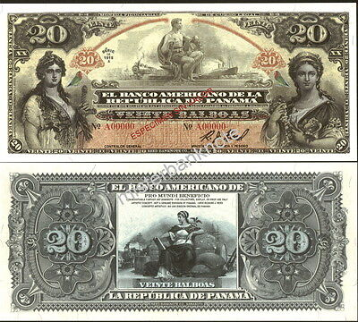 """New Panama Large Size """"series Of 1918A"""" 20 Balboas Fantasy Art Note By Reed Bnc!"""
