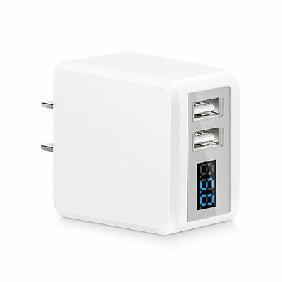 Dual Port USB Phone Charger LED Display Travel Wall Fast Charging Adapter EU/US