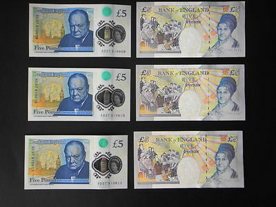 3 Consecutive-New 2016 Polymer £5 pound GEM UNC Banknotes+3x £5 Paper UNC