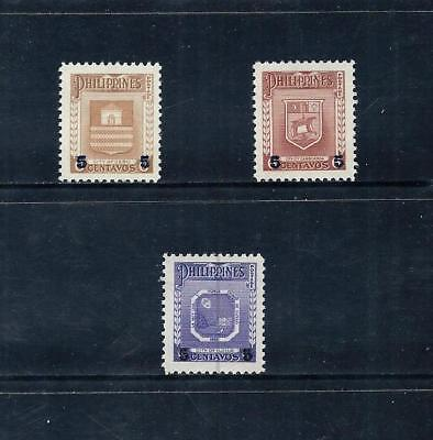 PHILIPPINES _ 1956 'ARMS' SURCHARGE SET of 3 _ mlh ____(509)