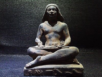ANCIENT EGYPTIAN ANTIQUE Seated Squatting Scribe Sculpture Statue 664 - 610 BC