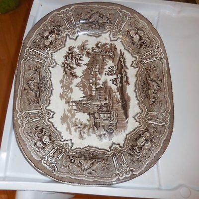 Very Large Antique Platter. Brown & White.