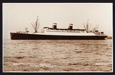 Blue Tinted Postcard RMS Manhattan USA United States Lines Ship Passenger Boat