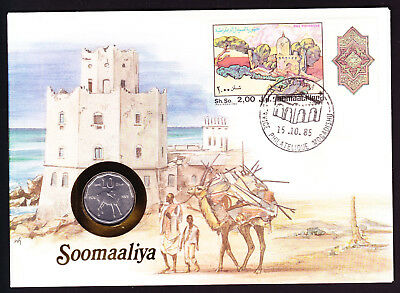 1985 Somaliland Somalia stamp & coin on cover Natives with Camel Architecture