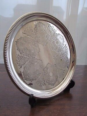 """Vintage Round  Drinks Tray Platter 10"""" Etched  Silver Plated Bead Pattern Rim"""