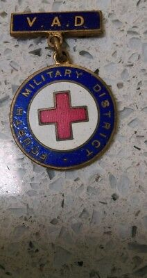 Fourth 4th Military District MD, VAD Red Cross Metal Badge, WWII Vintage(?)