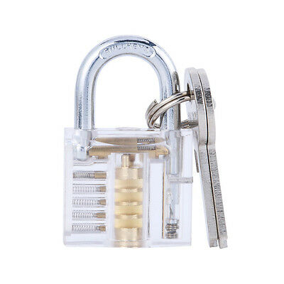 Locksmith Transparent Cutaway Practice Padlock Lock Training Skill Pick Visable