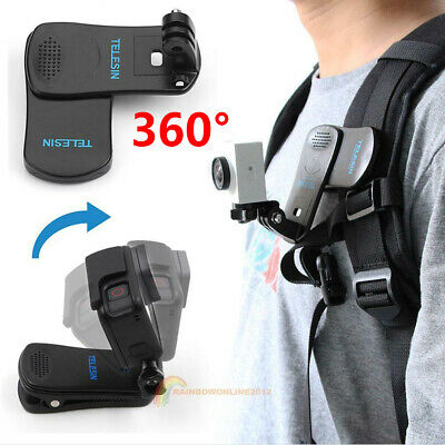 360° Rotary Backpack Belt Clip Clamp Mount for Gopro Hero 5 6 Yi 4K Accessories