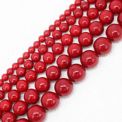 "6/8/10/12/14mm Beautiful Red Shell Pearl Round Loose Beads 15"" AAA New"