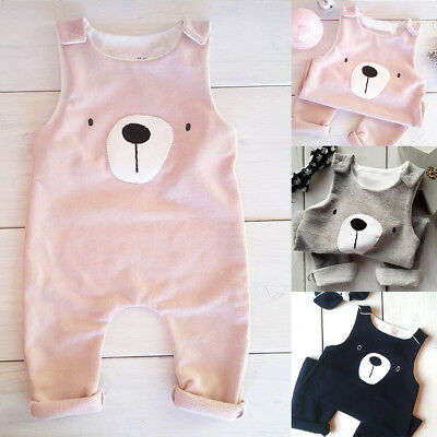 Newborn Baby Boys Girls Bear Summer Sleeveless Romper Jumpsuit Bodysuit Outfits