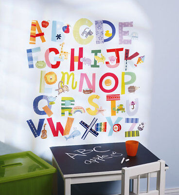 Wandsticker Wandtattoo Wallies lustiges Alphabet ABC bunt Kinderzimmer Wanddeko