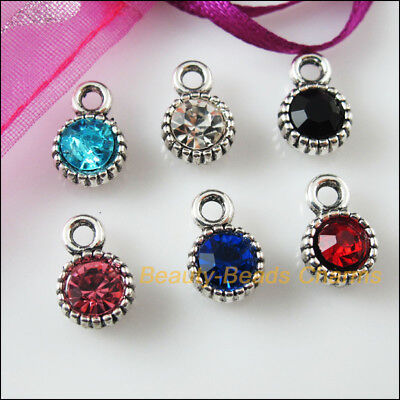 6 New Charms Glass Crystal Mixed Round Tibetan Silver Pendants 8.5x13mm