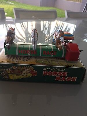 Schilling Tin Wind Up Mechanical Horse Race Toy