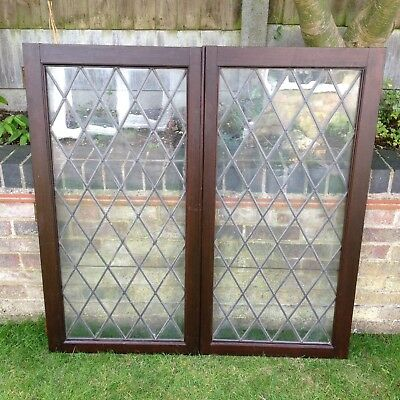 Antique Windows Glass Lead Glazed X 2  Mahogany External Old Salvage Vintage