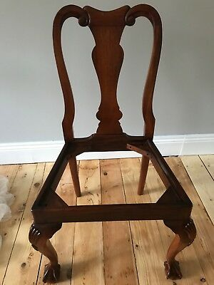 4 Mahogany English Queen Anne Dining Chairs