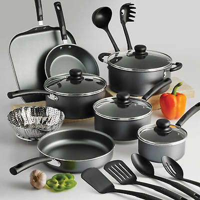 Tramontina PrimaWare 18-Piece Aluminum Nonstick Cookware Set Steel Gray Interior