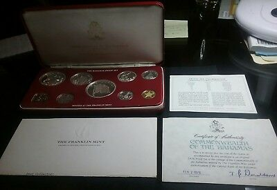 1976 Bahamas 9 Coin Proof Set  4 x Silver - Almost 3 Ounces of Silver!