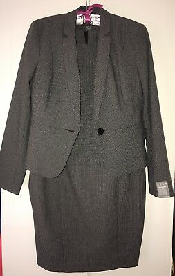 Full Grey Suit Dress And Jacket Size 14