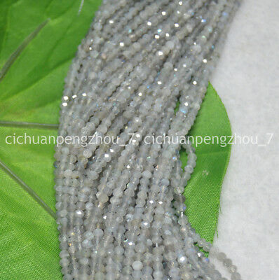 """Faceted 2x3mm Light Gray Labradorite Gems Rondelle Loose Beads 15.5"""""""