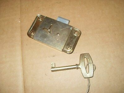 "Cupboard / Cabinet Lock & Key - 3"" x 1 5/8"" Base Plate - As Photo."