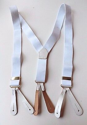 """VINTAGE Button On Braces Leather Tabs White Elasticated 27"""" - 37"""" Long  FREE P&P"""
