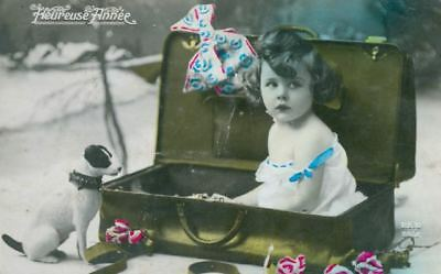 Old Postcard Girl & Smooth Jack Russell / Fox Terrier Dog France c1910 New Year