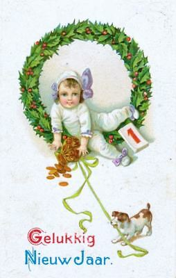 Postcard PC Happy New Year Jack Russell Terrier Dog Netherlands 1912 Embossed