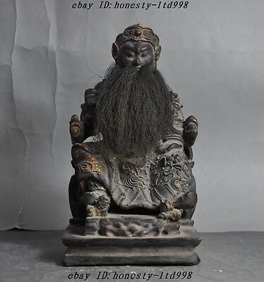 "9"" Collect Rare Chinese joss Old Wood Hand-Carved Mammon Jambhala Buddha Statue"