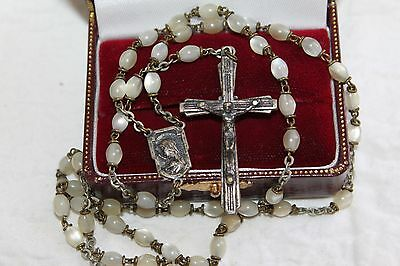 """RARE 17.5"""" ITALY Antique OLD SILVER Mother Pearl Bead ROSARY"""