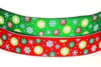 Snowflake printed red green christmas festive ribbon gift decorating pack 2x2m