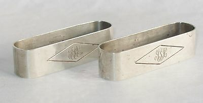 Randahl Sterling Silver Hand Wrought Napkin Ring set of 2 Oval