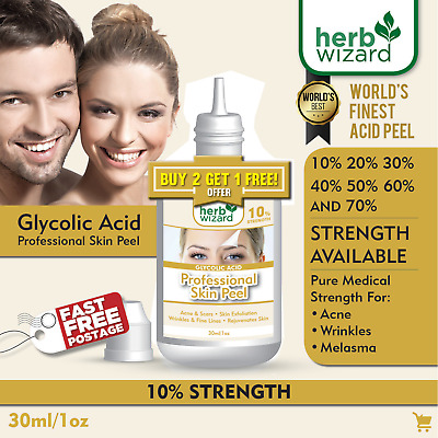 Glycolic Acid Chemical Peel Pure Strength AHA 10% 20% 30% 40% 50% 60% 70% - 30ml