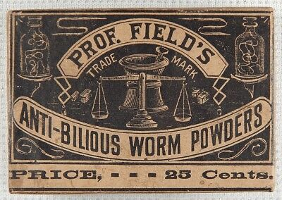 1906 Unopened Box Prof Field's Anti Bilious Worm Powder Quack Medicine