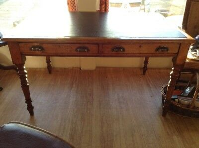 Leather Topped Writing Desk Victorian Solid Oak