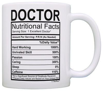 Doctor Gifts for Women Doctor Nutritional Facts Doctorate Coffee Mug Tea Cup