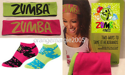 Zumba Gift Set - Socks x2 w Max Support + Reversable 2Ways to Tame It Headbands