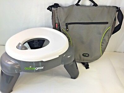 Fisher-Price Active Gear Potty-on-the-Go Travel Kids Toilet Seat & Gray Tote Bag