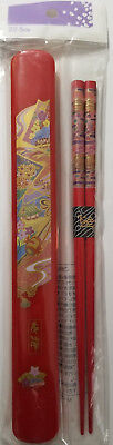 New Vintage Japan lacquer wood chopsticks with matching Case Red Gold 22.5cm