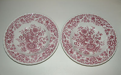 Ridgway Clifton  Red 2  Rimmed Soup / Pasta Bowls Vgc