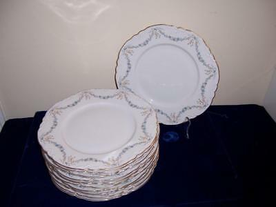 11 Fontainebleau Hutschenreuther Germany Wallace Dinner Plates Blue Swag Flowers