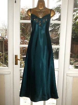 Vintage Slippery Liquid Satin Embroidered Nightie Nightdress Gown UK14 Tall Girl