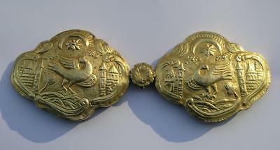 ANTIQUE 19th CENTURY OTTOMAN EMPIRE SILVER WOMEN'S DRESS BELT BUCKLE-GILDED