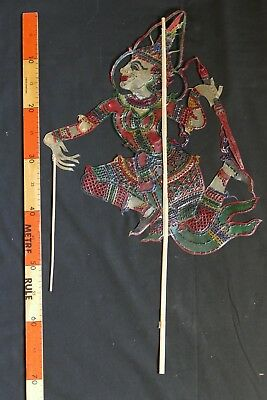 Vintage Indonesian 'Wayang Kulit' painted leather shadow puppet