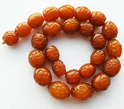 Antique Carved Egg Yolk Butterscotch Natural Baltic Amber Necklace 琥珀色 كهرمان