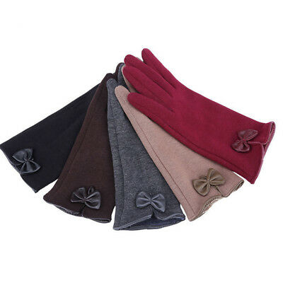 Women Ladies New Winter Warm Thick Fleece Lined Thermal Touch Screen Bow Gloves
