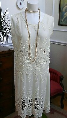 1920s Dress Creamy White Lace Embroidered Drop Waist  Wedding Graduation Formal