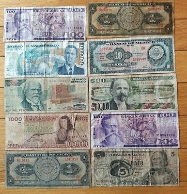 10 Banknotes from Mexico #2